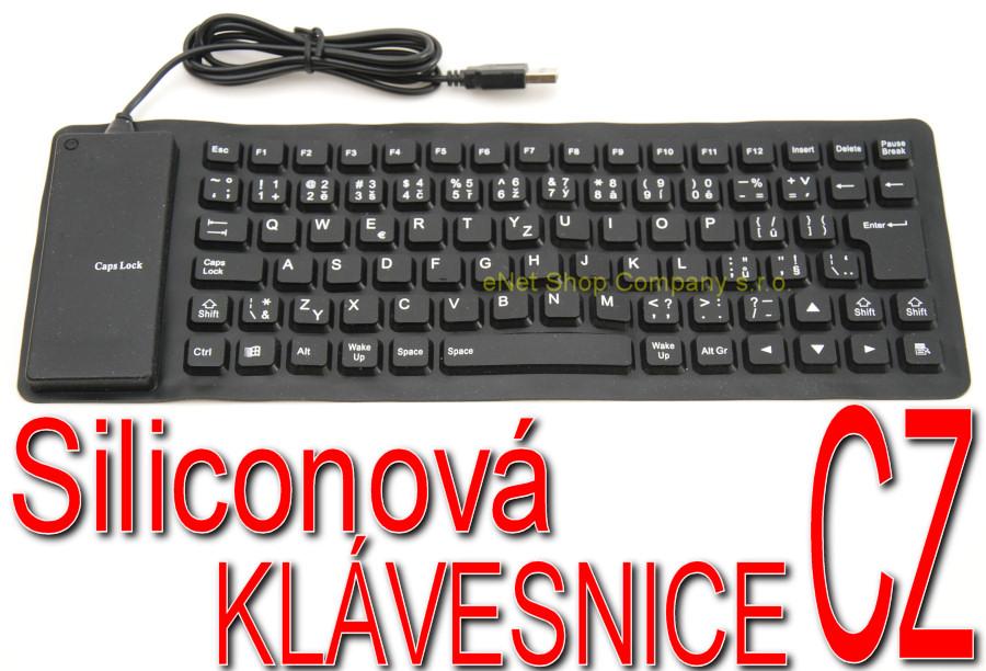 Siliconová gumová klávesnice černá CZ