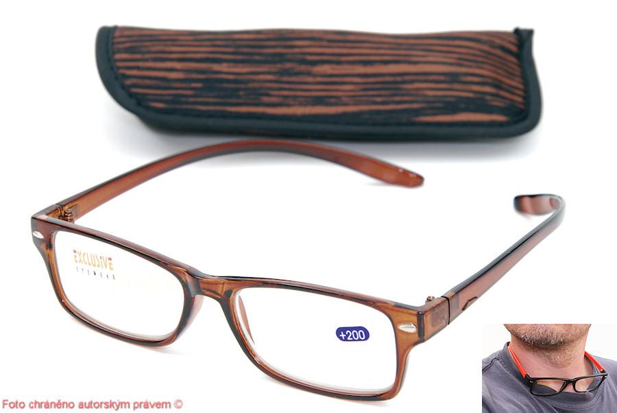 Brýle na čtení plus 3 samodržící na krku včetně pouzdra hnědé
