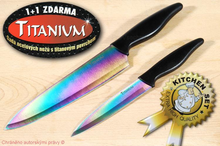 Sada nožů Titanium 1 plus 1 kuchařský a univerzální