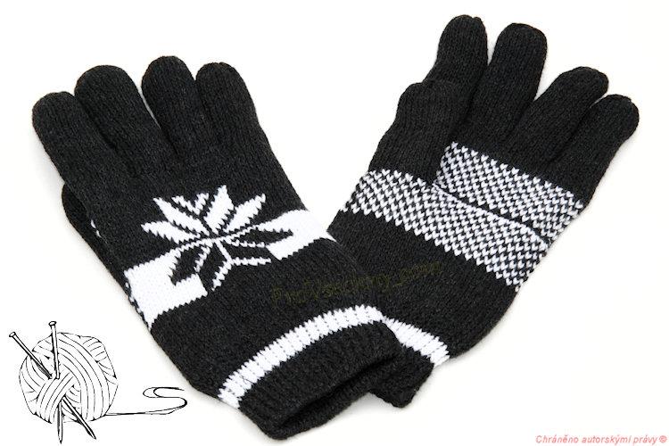 Pánské pletené rukavice zateplené černé